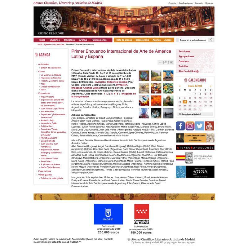 Ateneo de Madrid. Primer Encuentro Internacional de Arte de América Latina y España