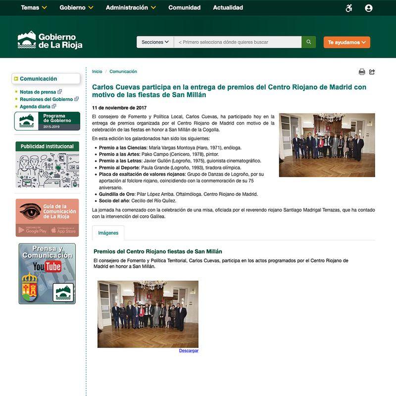 Gobierno de La Rioja. Carlos Cuevas participa en la entrega de premios del Centro Riojano de Madrid con motivo de las fiestas de San Millán