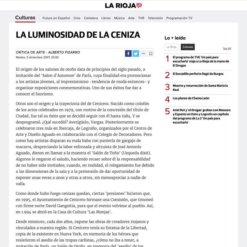 Diario La Rioja. La luminosidad de la ceniza