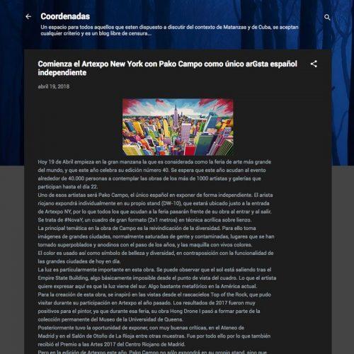 Coordenadas Cuba. Comienza el Artexpo New York con Pako Campo como único artista español independiente