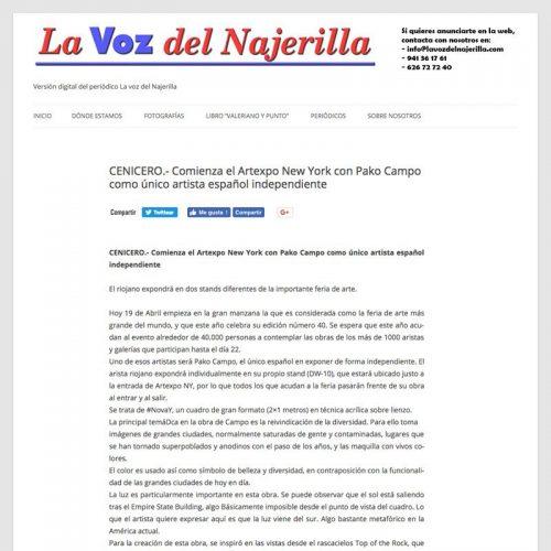La Voz del Najerilla. Comienza el Artexpo New York con Pako Campo como único artista español independiente