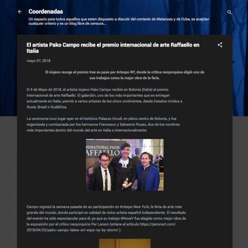 Coordenadas Cuba. El artista Pako Campo recibe el premio internacional de arte Raffaello en Italia