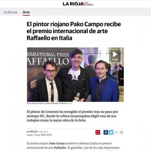 Diario La Rioja. El pintor riojano Pako Campo recibe el premio internacional de arte Raffaello en Italia