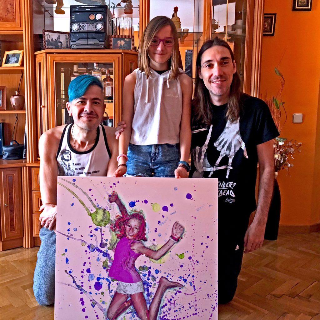 Ariadna with her portait, Pako Campo & Pablo Peña
