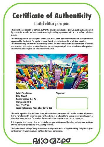 Giclée print - Certificate of Authenticity - Pako Campo