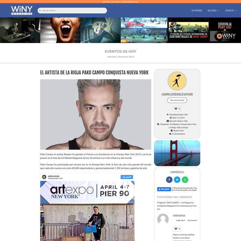 WiNY Magazine. El artista de La Rioja Pako Campo conquista Nueva York