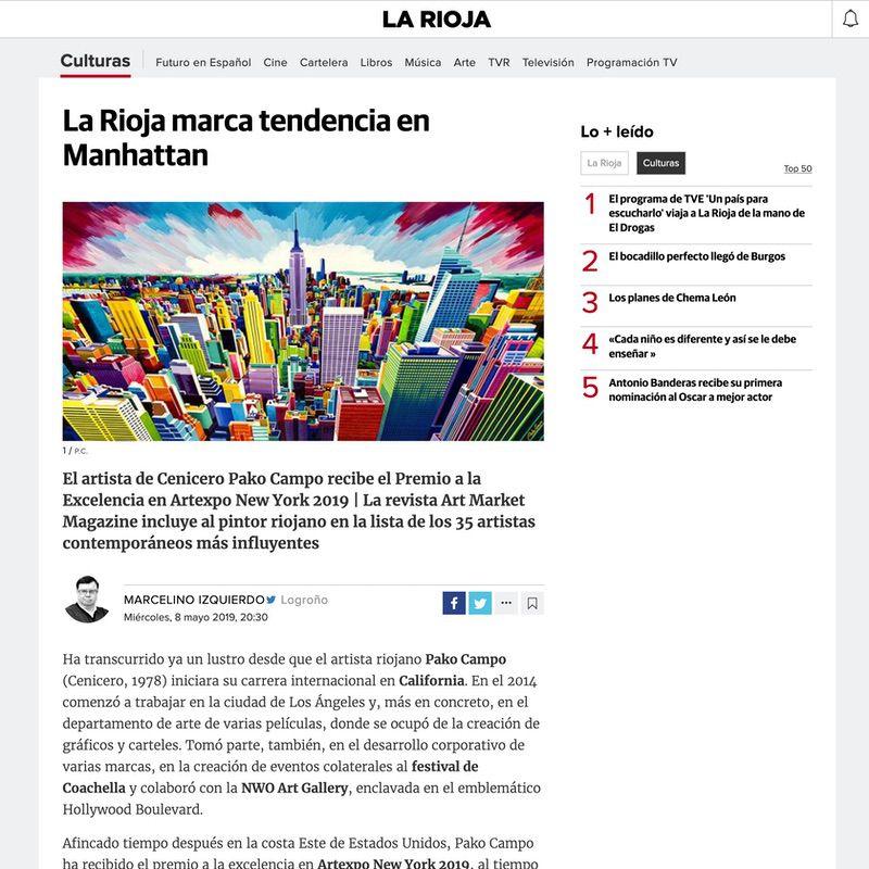 Diario La Rioja. La Rioja marca tendencia en Manhattan (Digital edition)