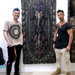 """With Angelo Tasini and his artwork """"Divino Equilibrio"""" at Fluorescence Biennale"""