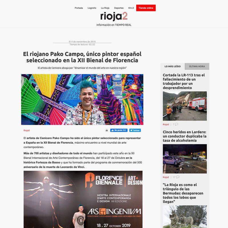 Rioja2. El riojano Pako Campo, único pintor español seleccionado en la XII Bienal de Florencia