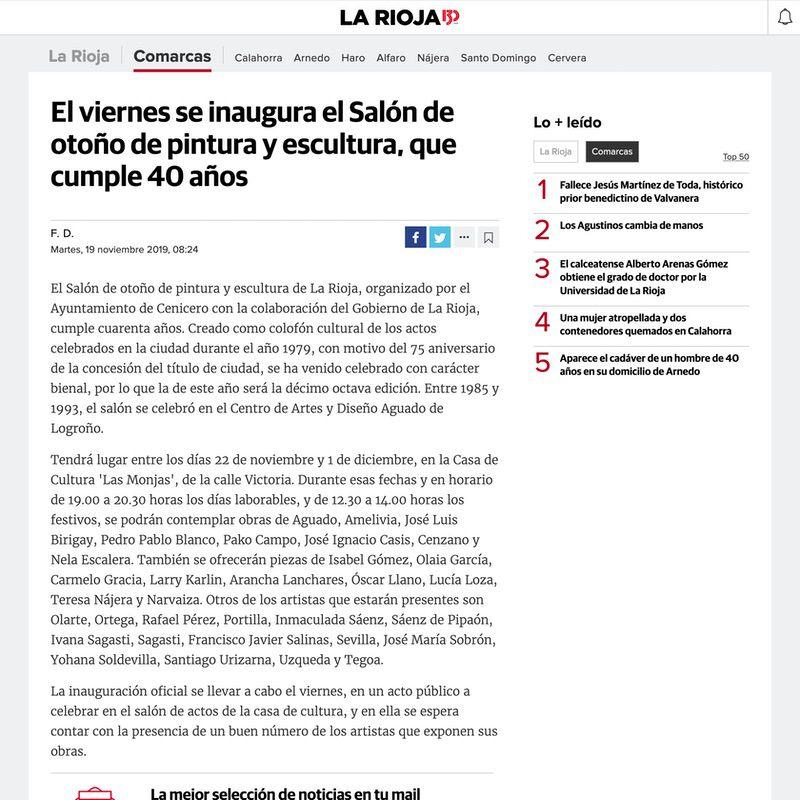 Diario La Rioja. El viernes se inaugura el Salón de otoño de pintura y escultura, que cumple 40 años