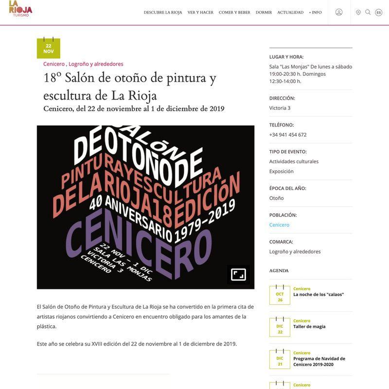 La Rioja Turismo. 18º Salón de otoño de pintura y escultura de La Rioja
