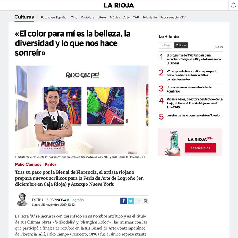 Diario La Rioja. El color para mí es la belleza, la diversidad y lo que nos hace sonreír (Digital edition)