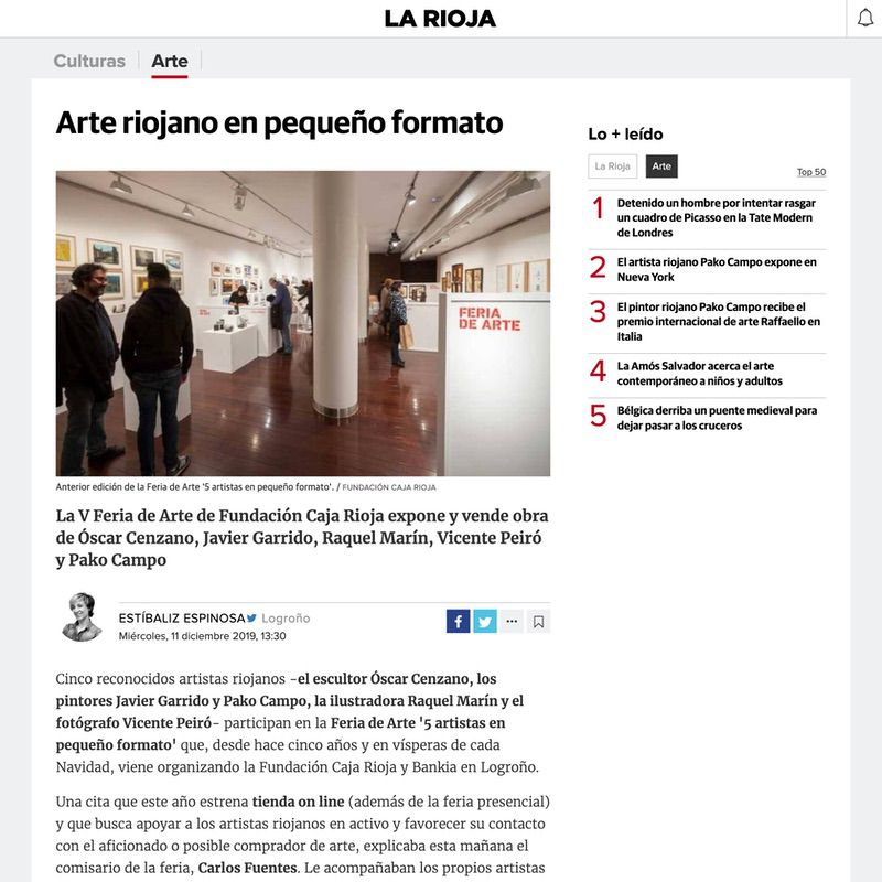 Diario La Rioja. Arte riojano en pequeño formato