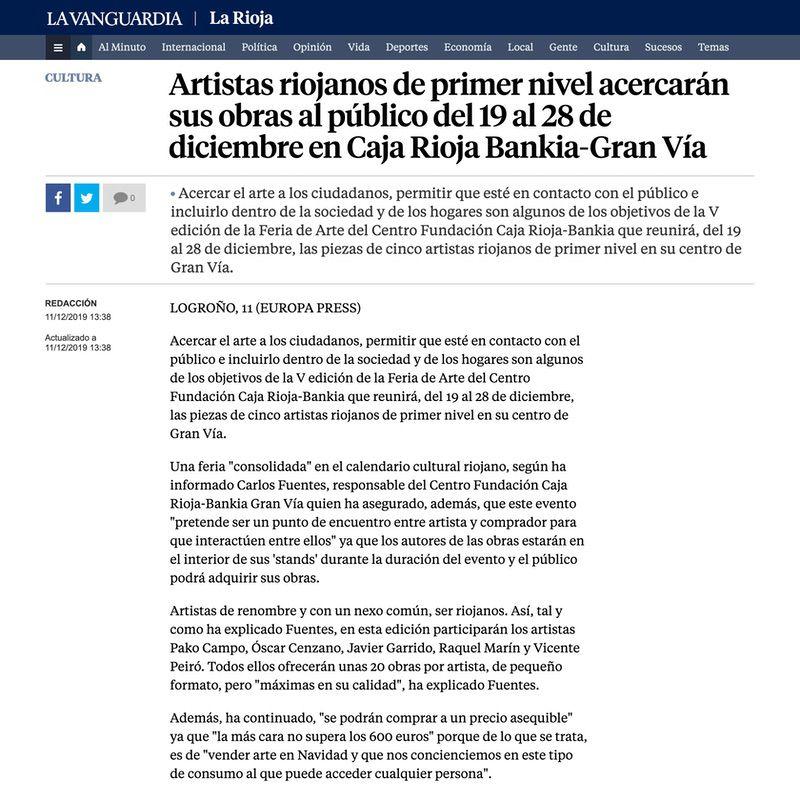 Diario La Vanguardia. Artistas riojanos de primer nivel acercarán sus obras al público del 19 al 28 de diciembre en Caja Rioja Bankia-Gran Vía