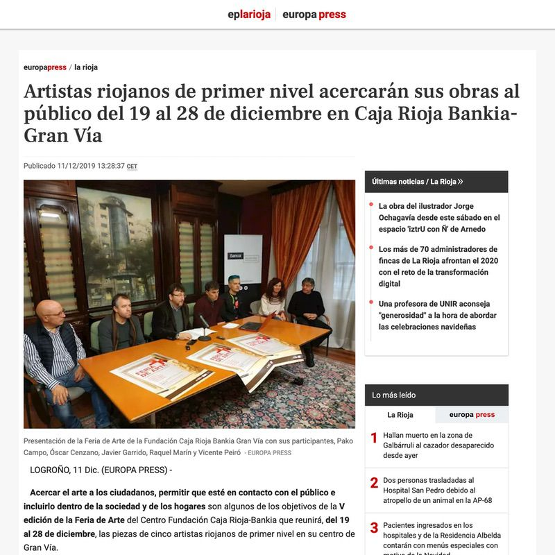 Europa Press. Artistas riojanos de primer nivel acercarán sus obras al público del 19 al 28 de diciembre en Caja Rioja Bankia-Gran Vía