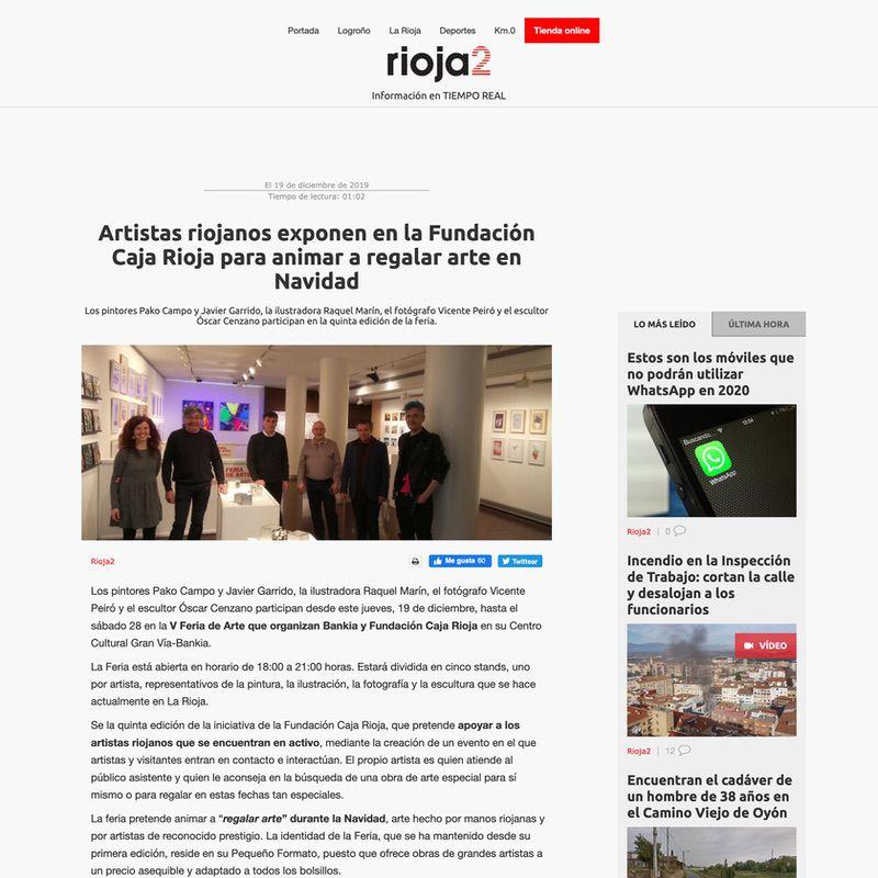 Rioja2. Artistas riojanos exponen en la Fundación Caja Rioja para animar a regalar arte en Navidad