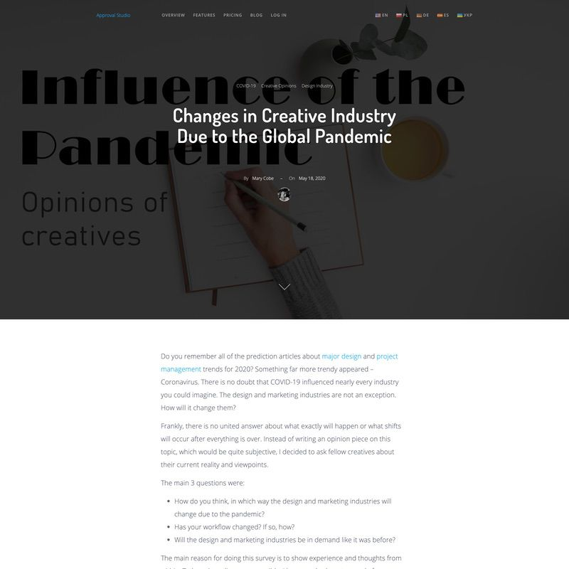 Approval Studio. Changes in creative industry due to the global pandemic